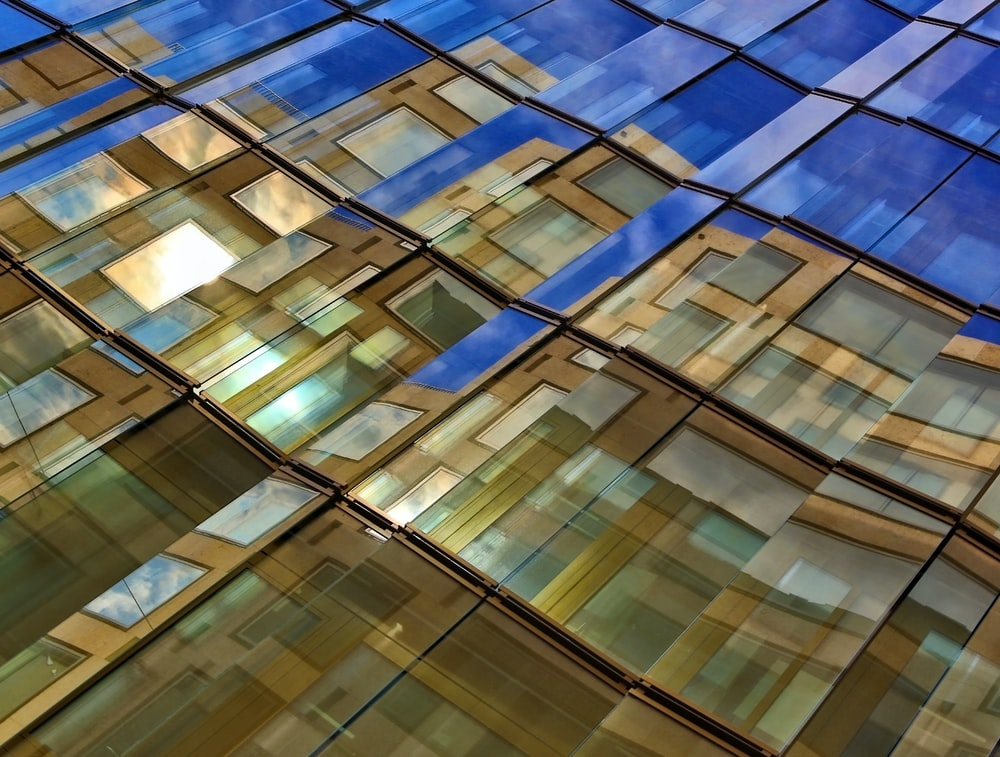 architectural photography of blue and brown building