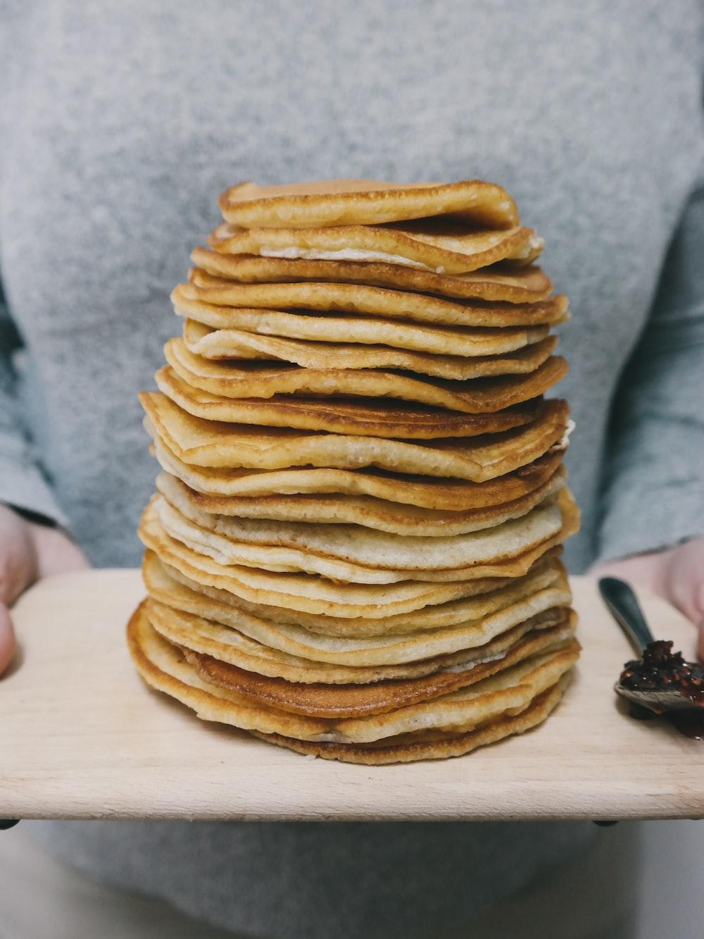 pancakes on brown tray