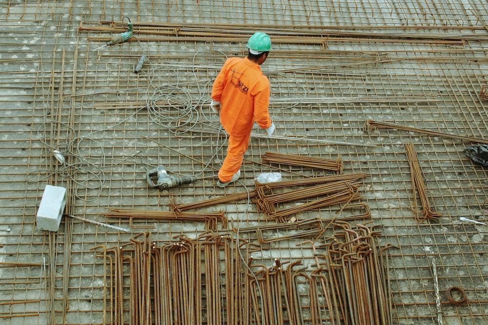 man walking on construction site