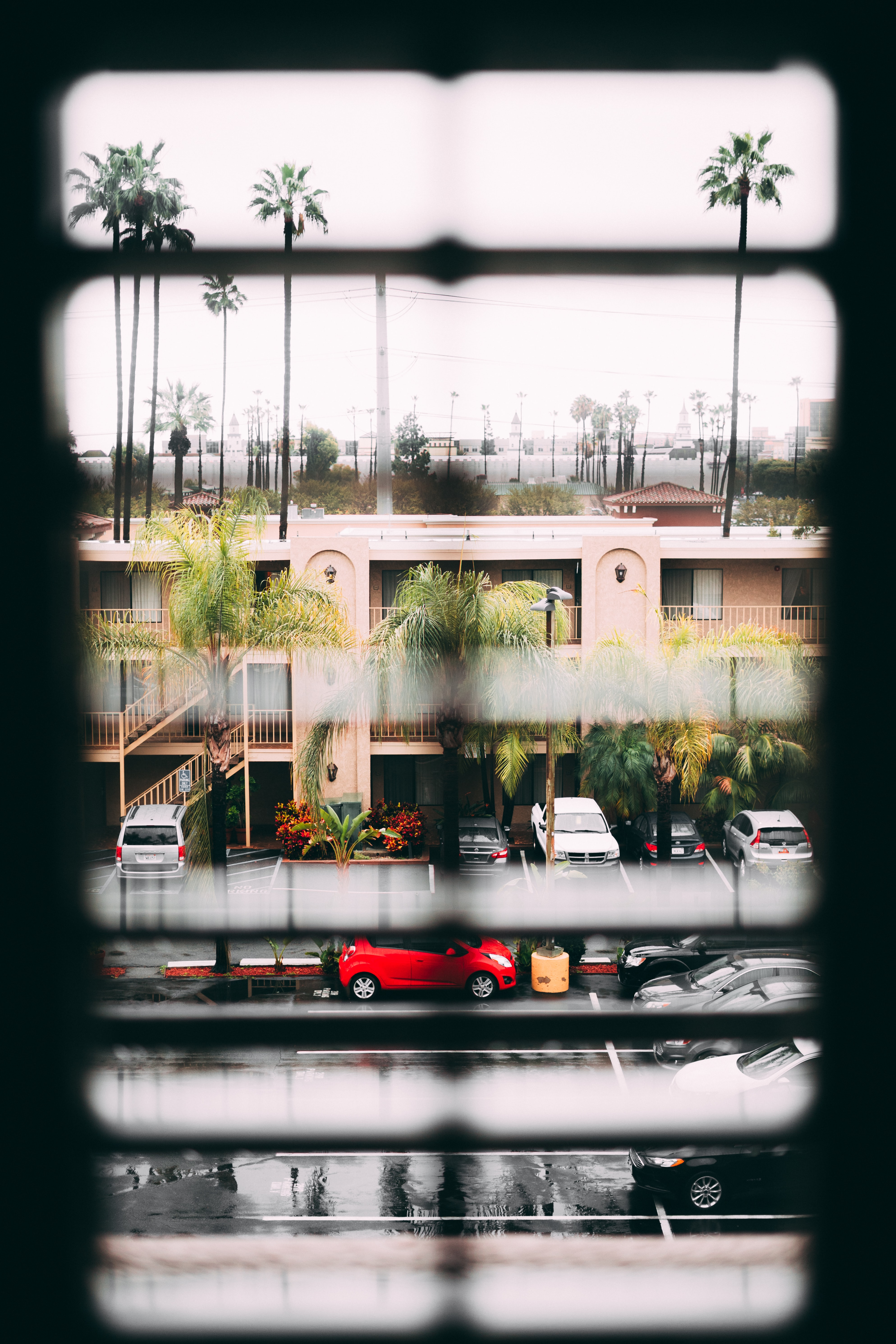 View through the window blinds on the parking lot, palm trees and two story residential building