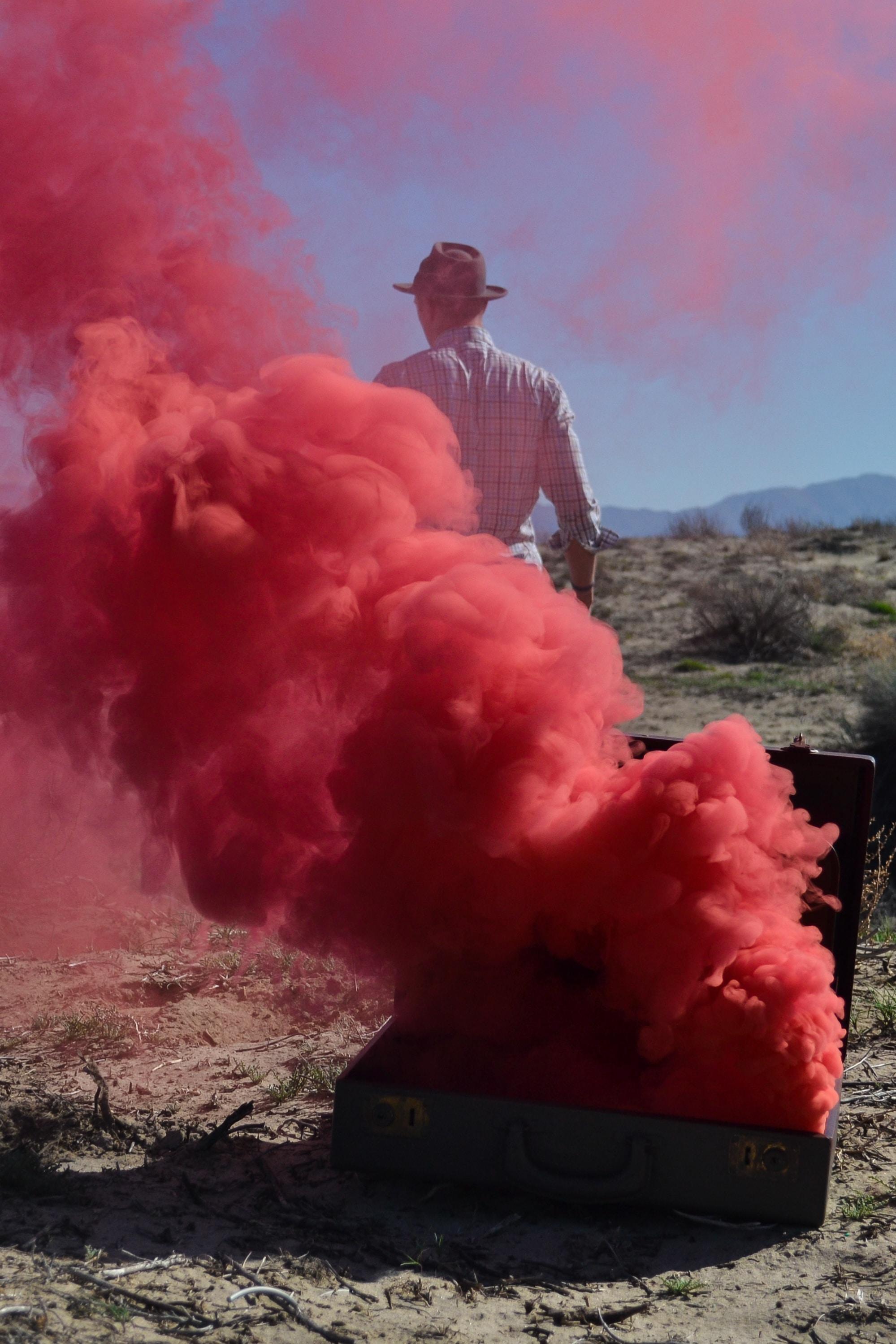 Red smoke in the desert.
