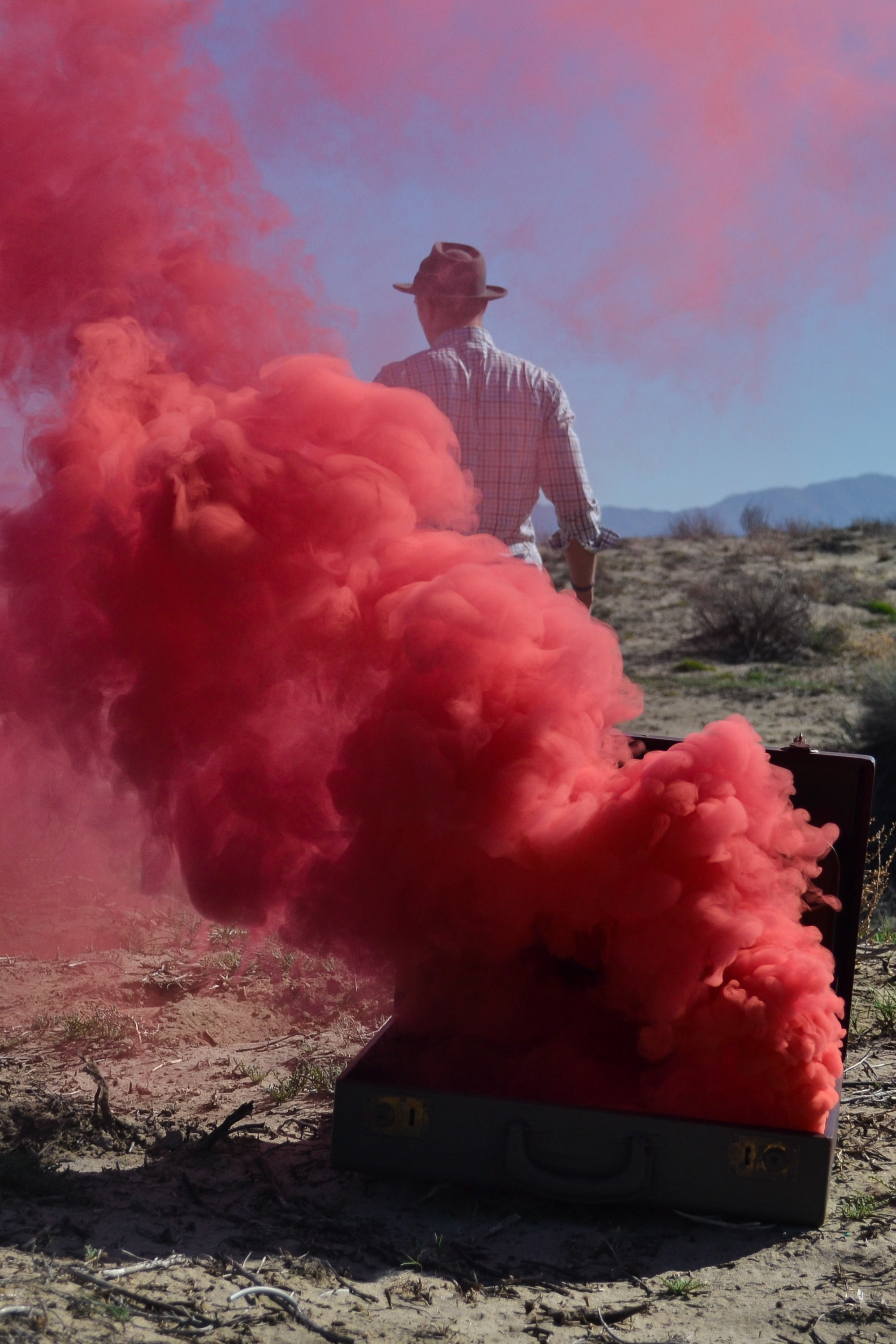 Red smoke in the desert.