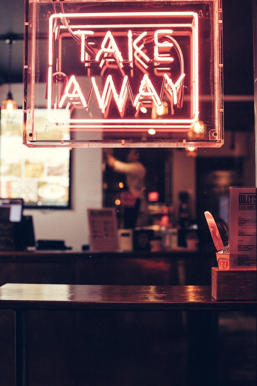 red Take Away neon signage