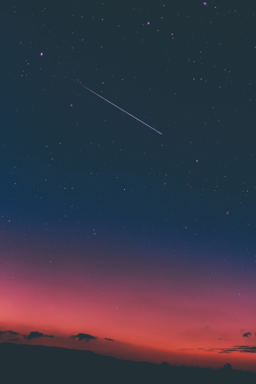 shooting star in night sky