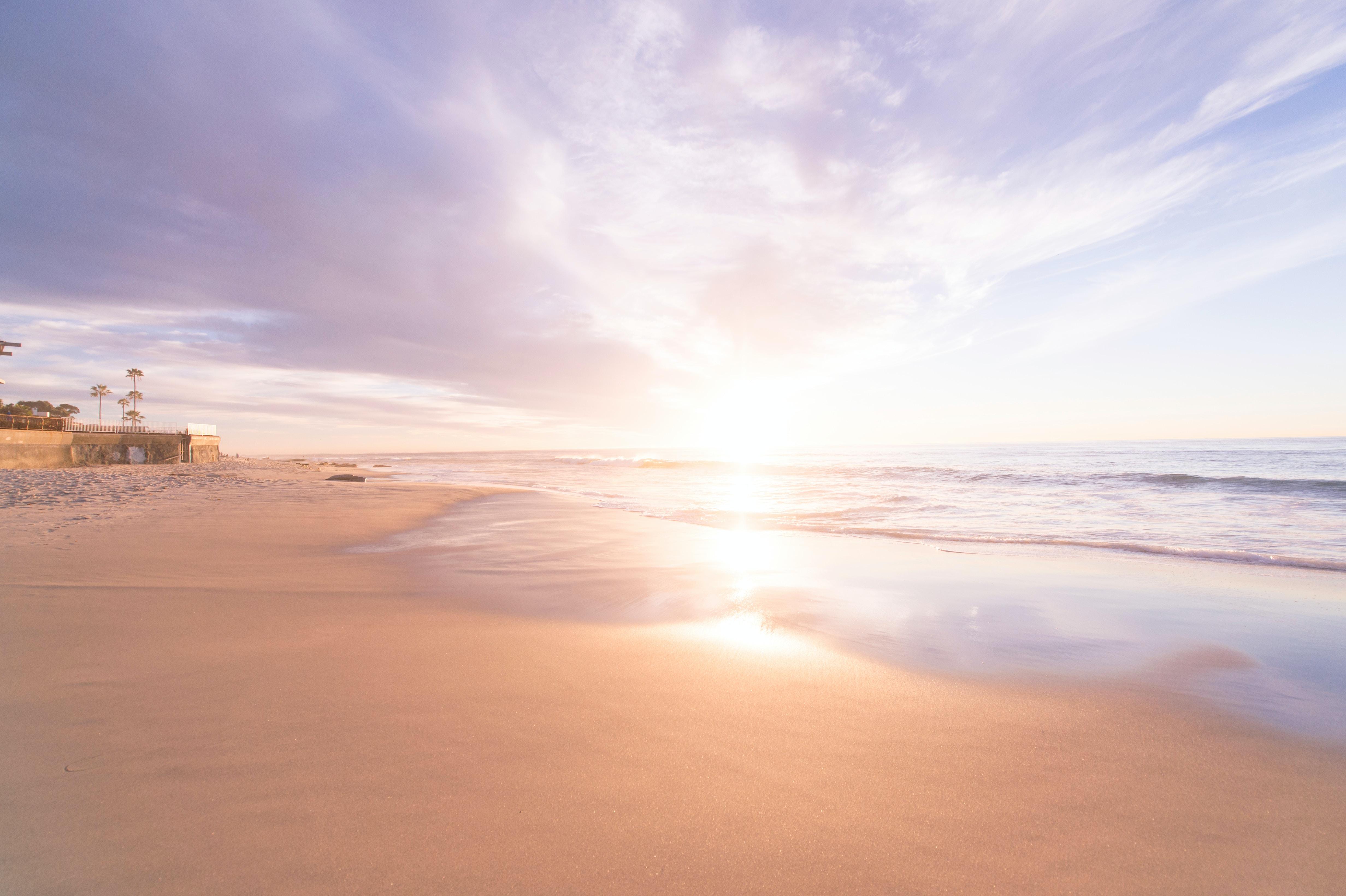 Sunset on a sandy beach at San Diego