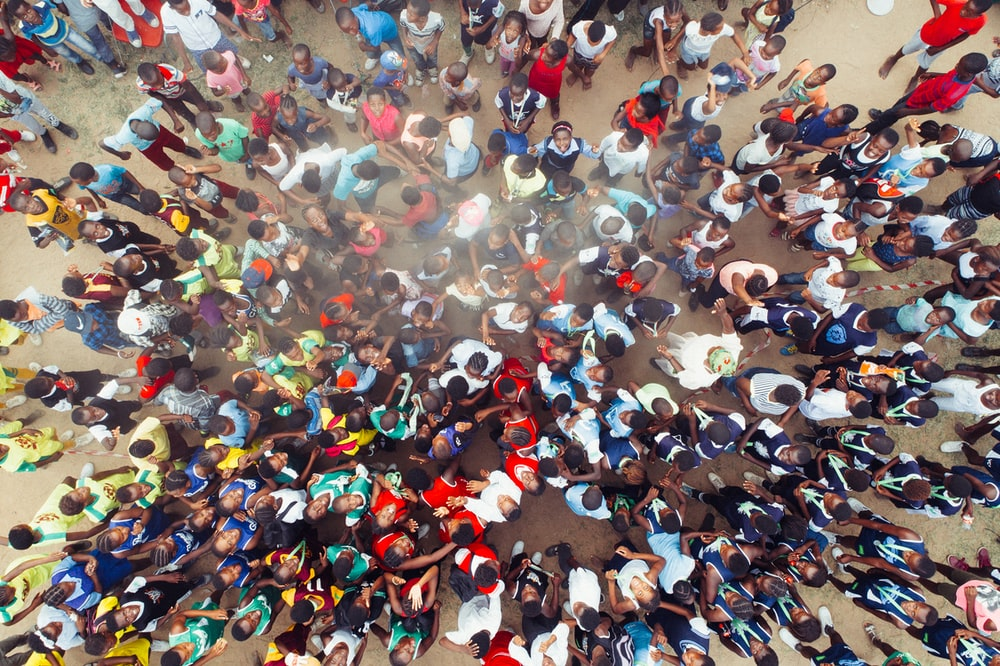 aerial photography of people gathering on street