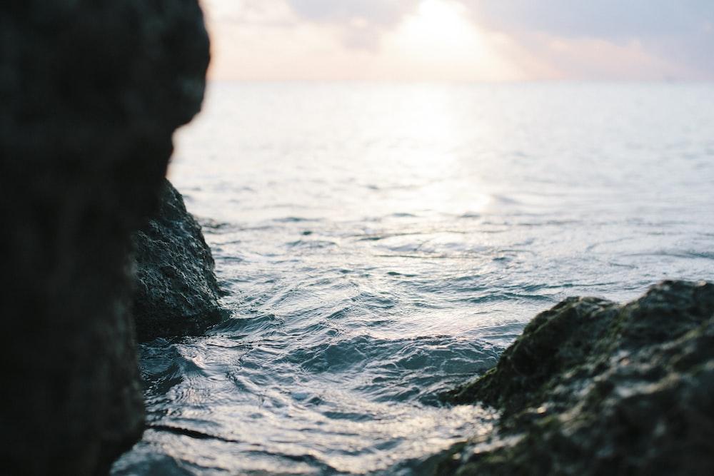 sea between rock formation