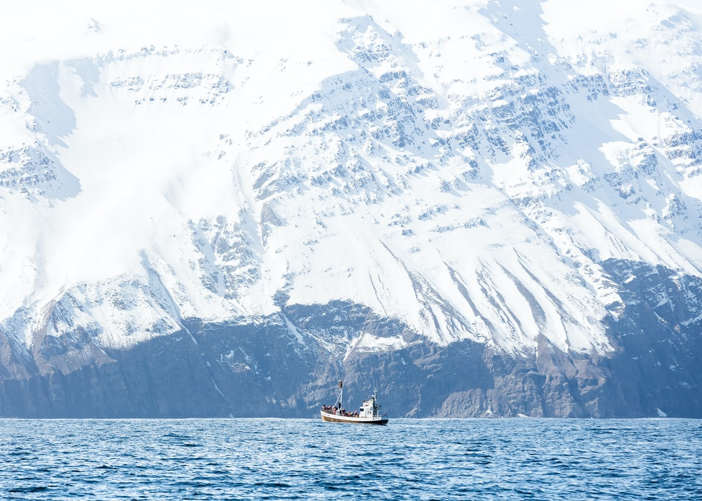 white boat on body of water bear mountain covered of snow