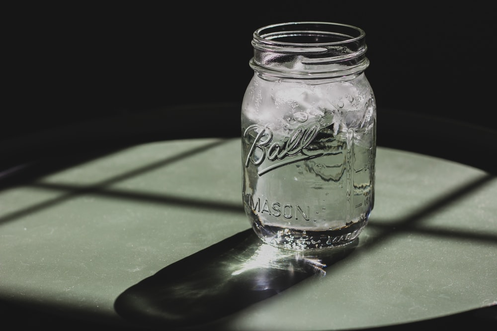 Ball mason jar on table