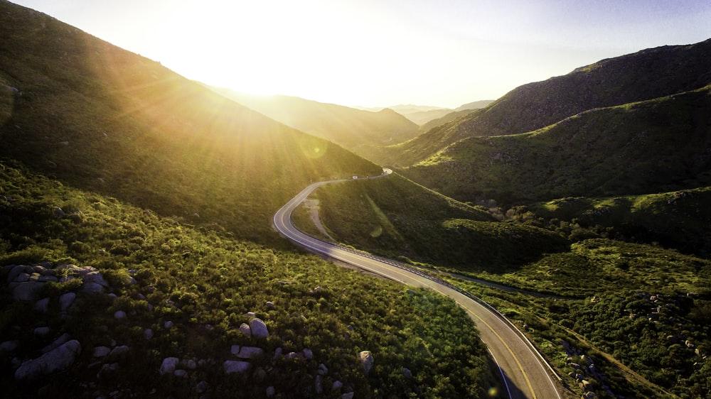 mountain pass during sunrise