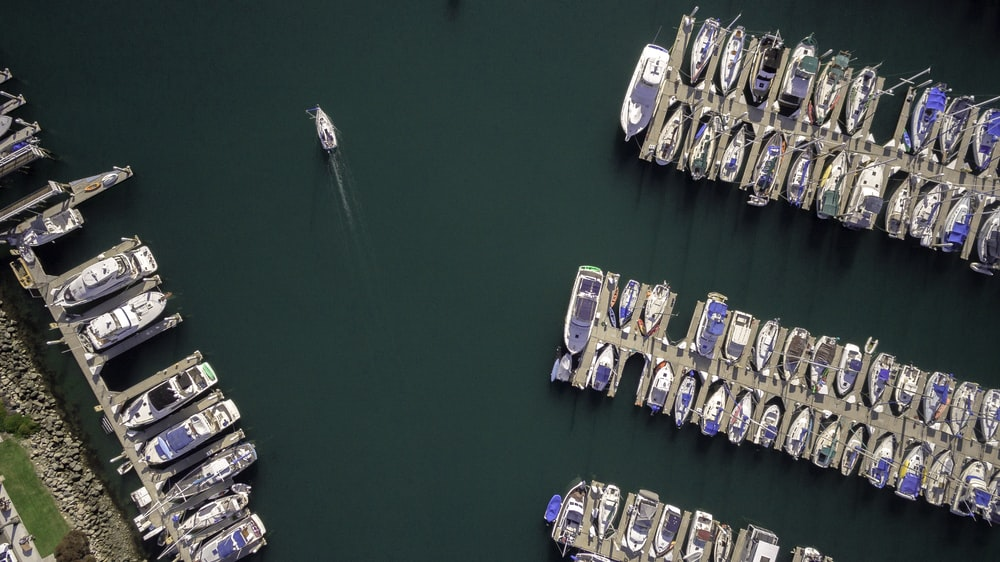 aerial photography of docked boats