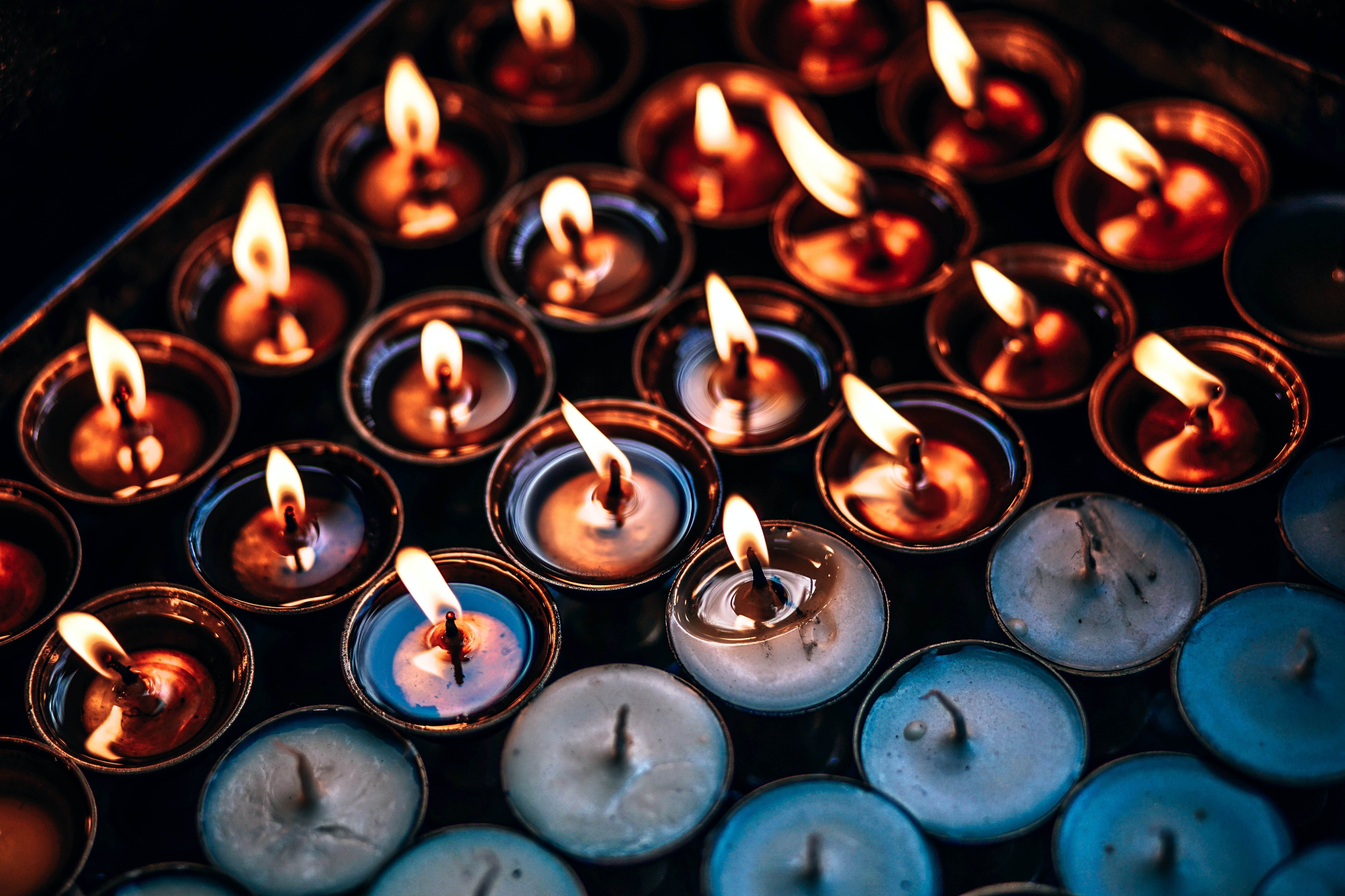 tealight candles in brwon steel case