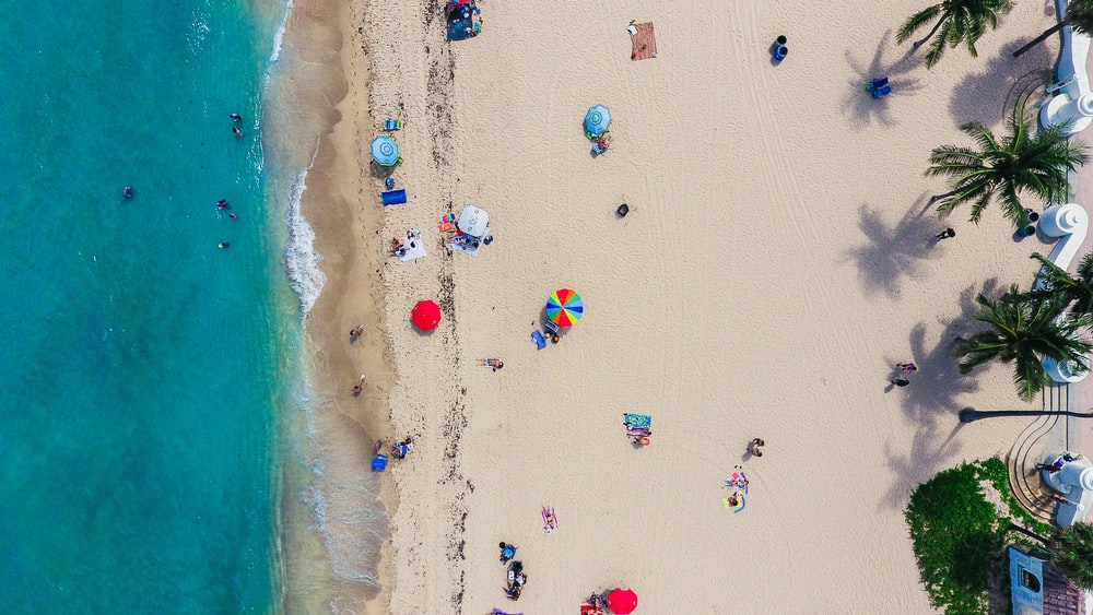 aerial photography of people gathering on shore