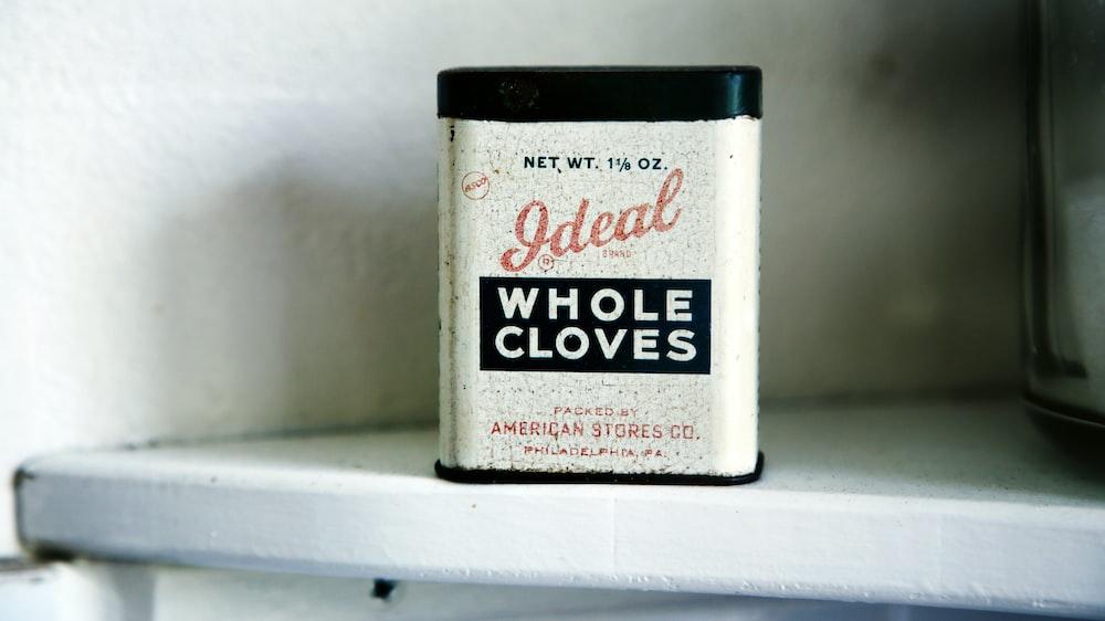 Ideal Whole Cloves case on white shelf