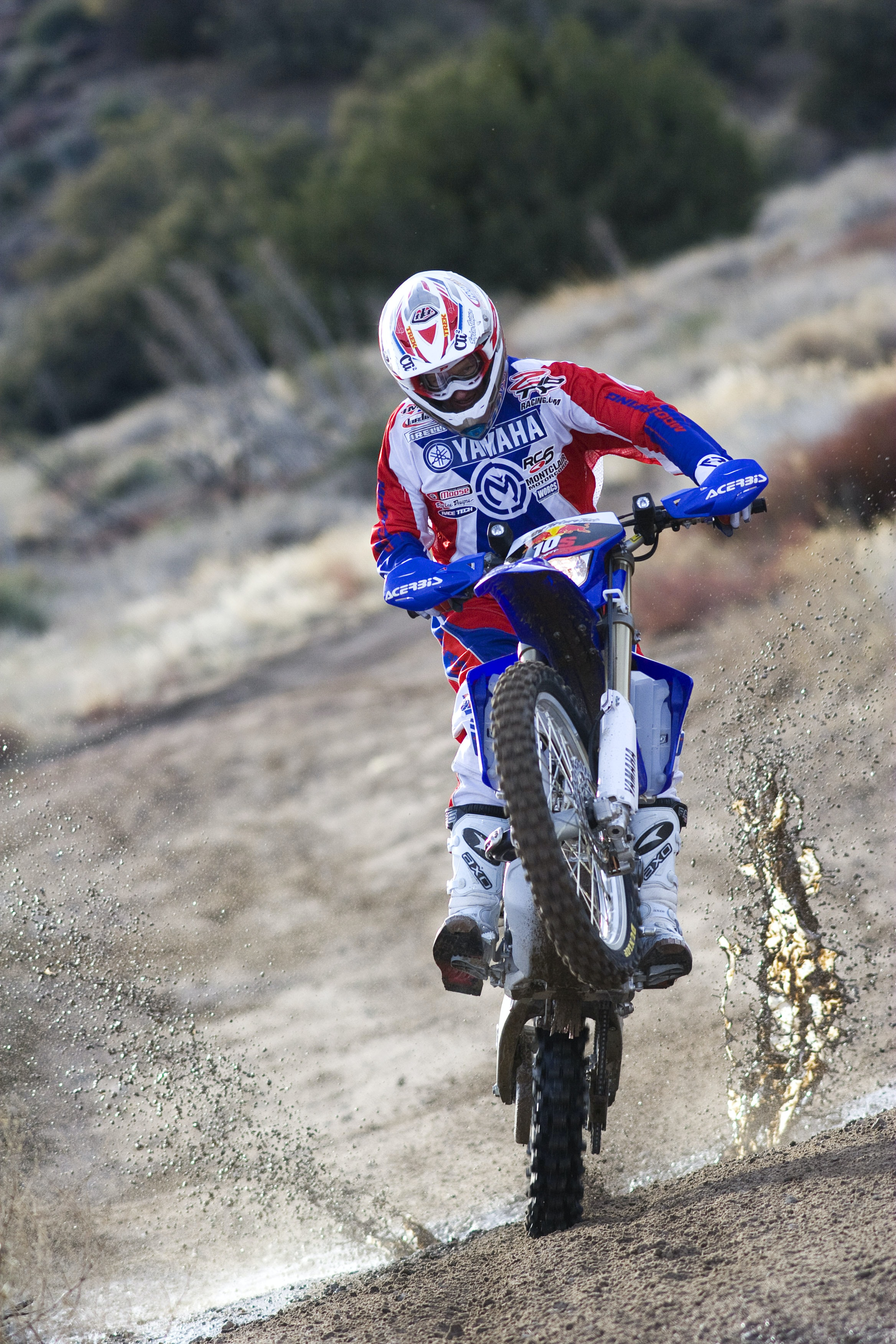 A man riding a dirtbike offroad in Gorman
