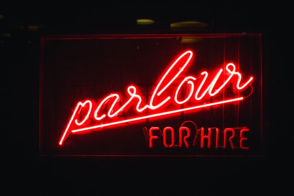Parlour for hire lighted neon light signage