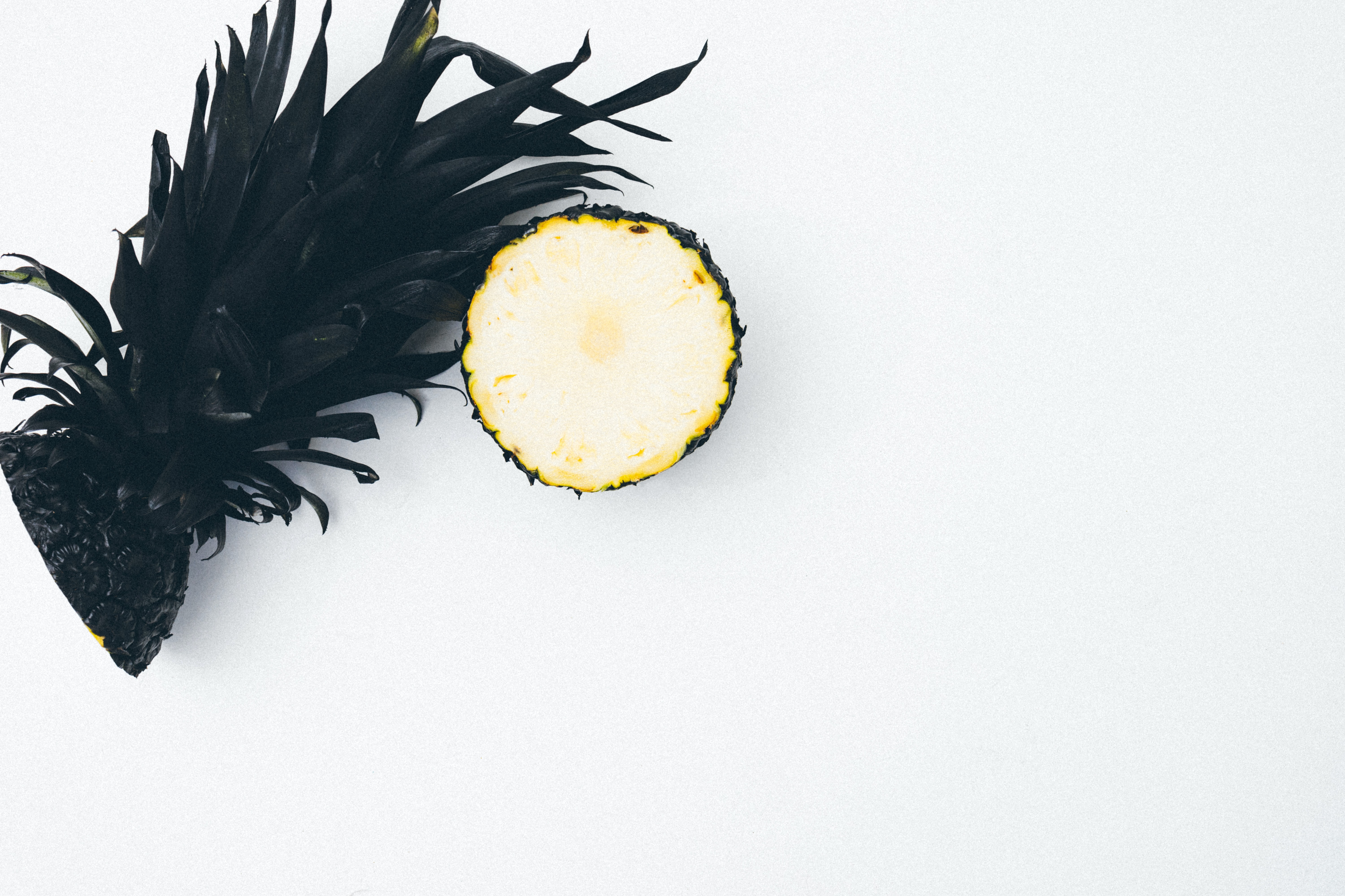 selective color of slice pineapple