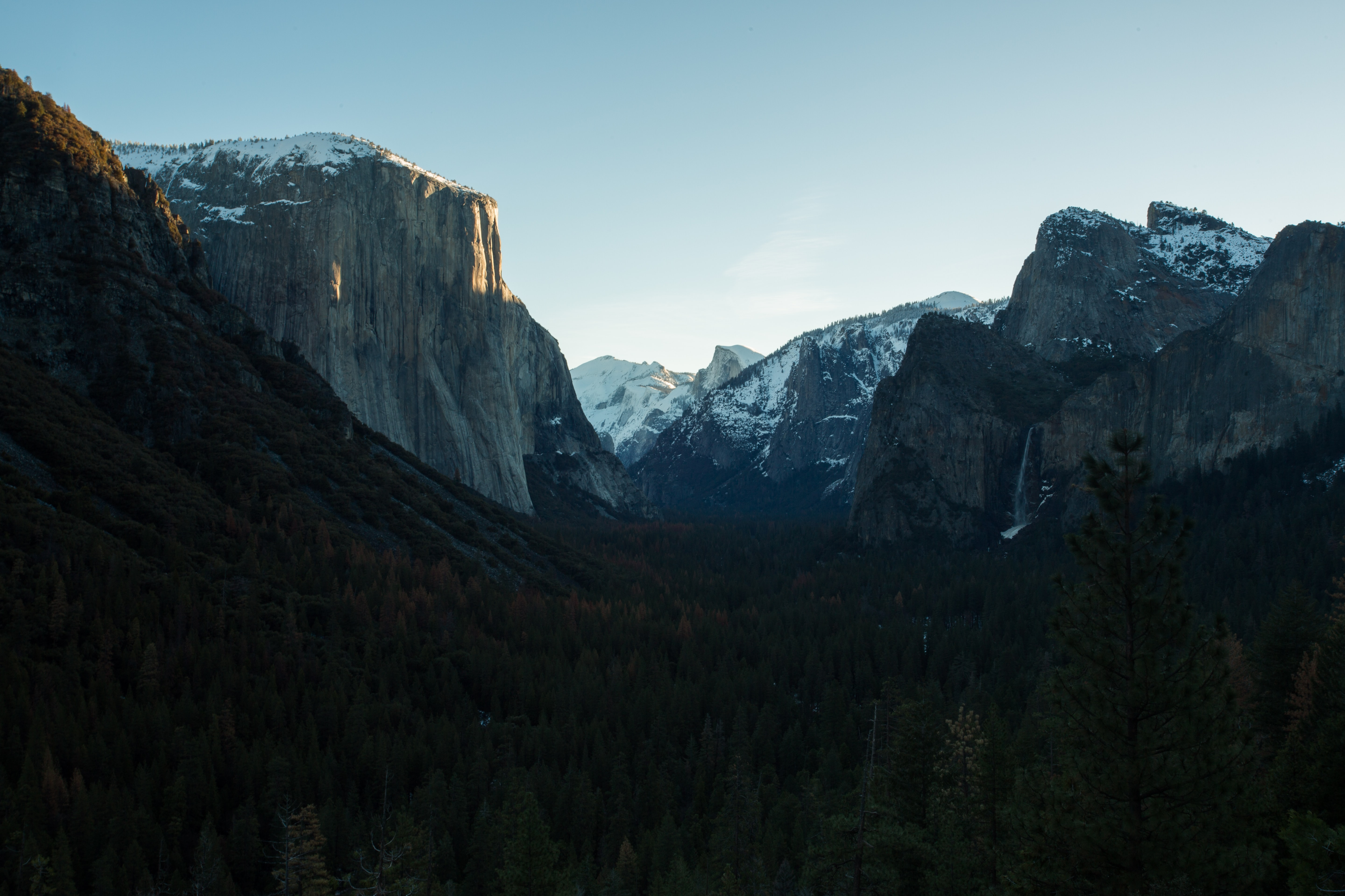 A dim shot of the floor of Yosemite Valley