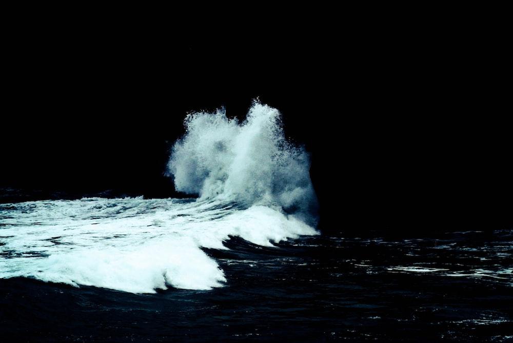 seawater crashing on shore