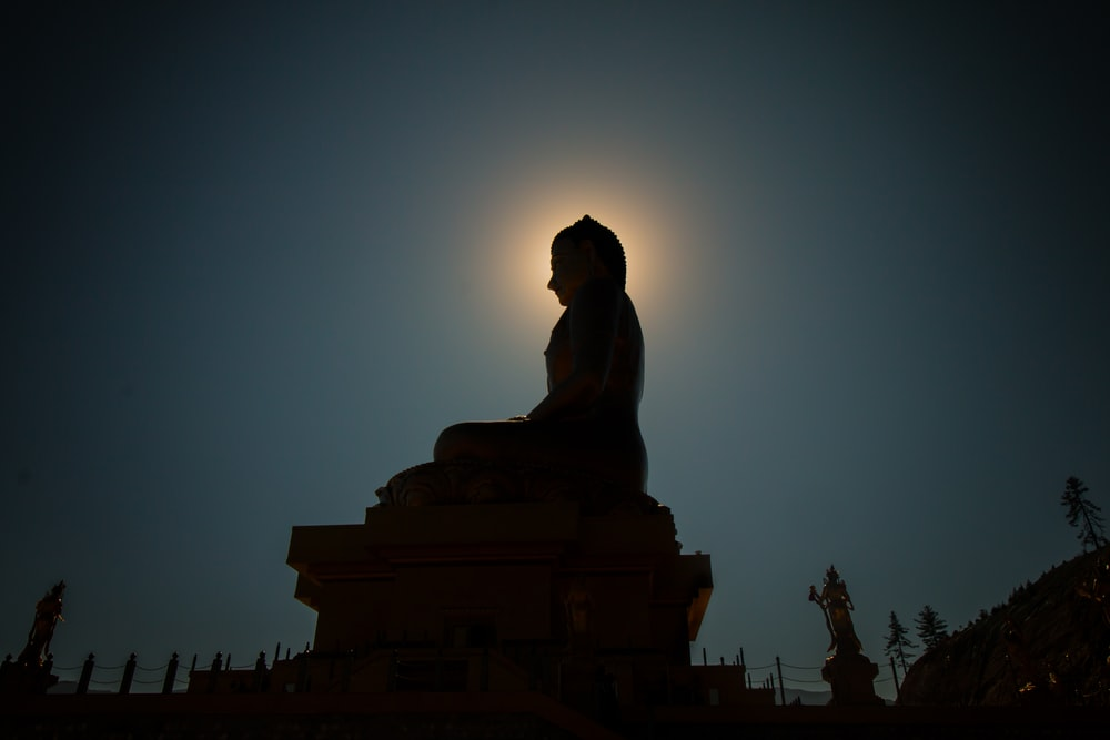 silhouette photo of Buddha statue