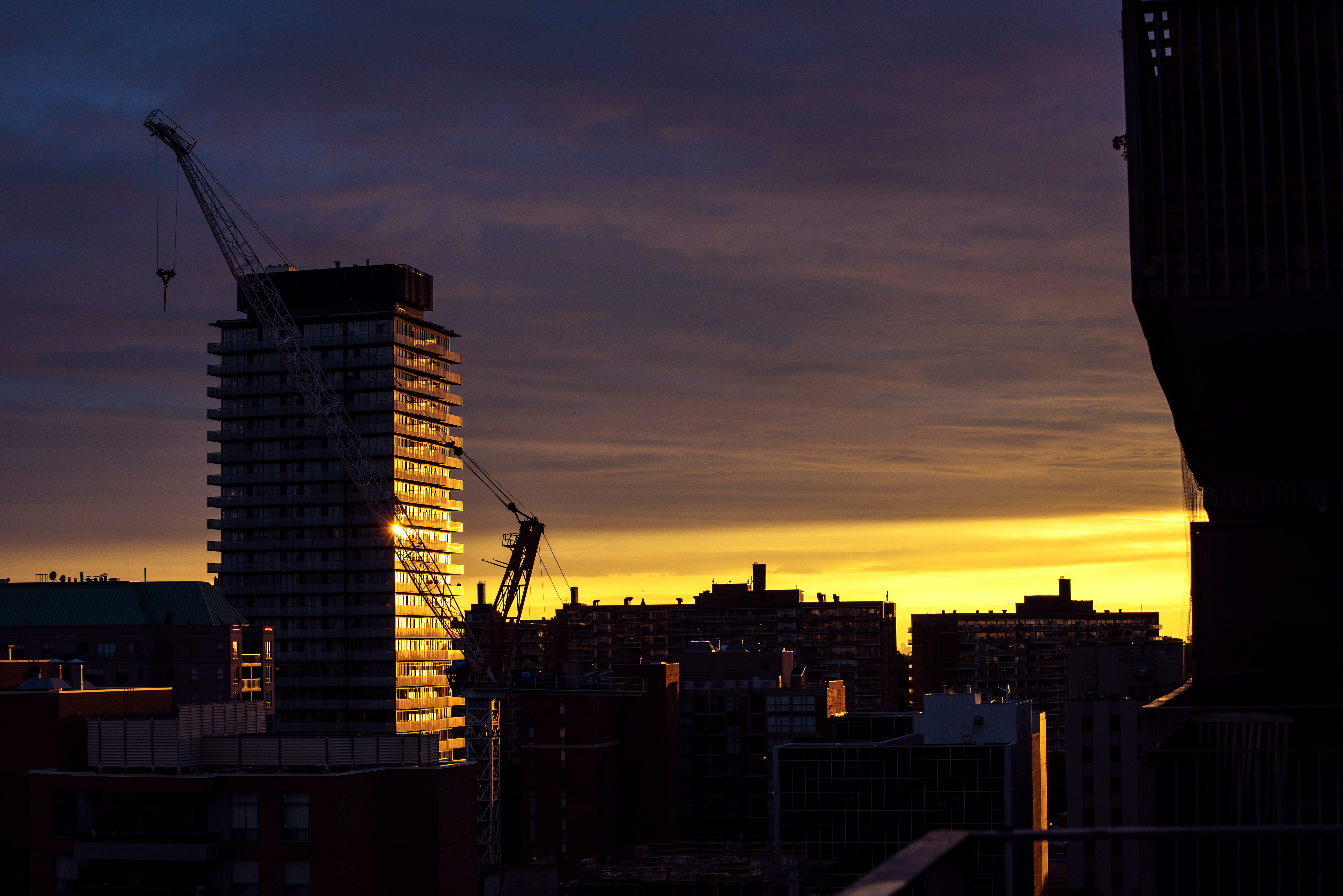 yellow sunset above high-rise buildings