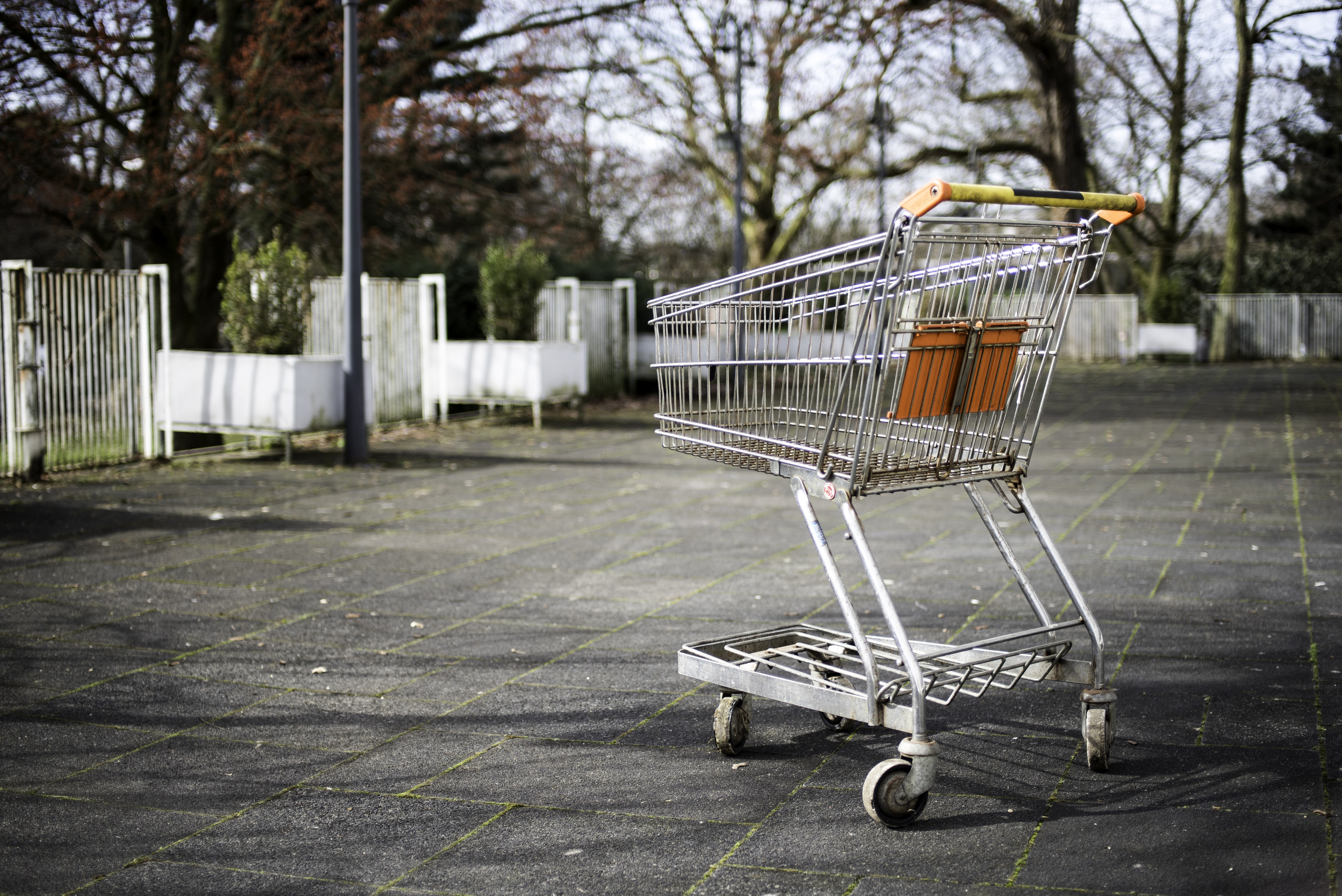 silver metal shopping cart on gray pavement near white fences
