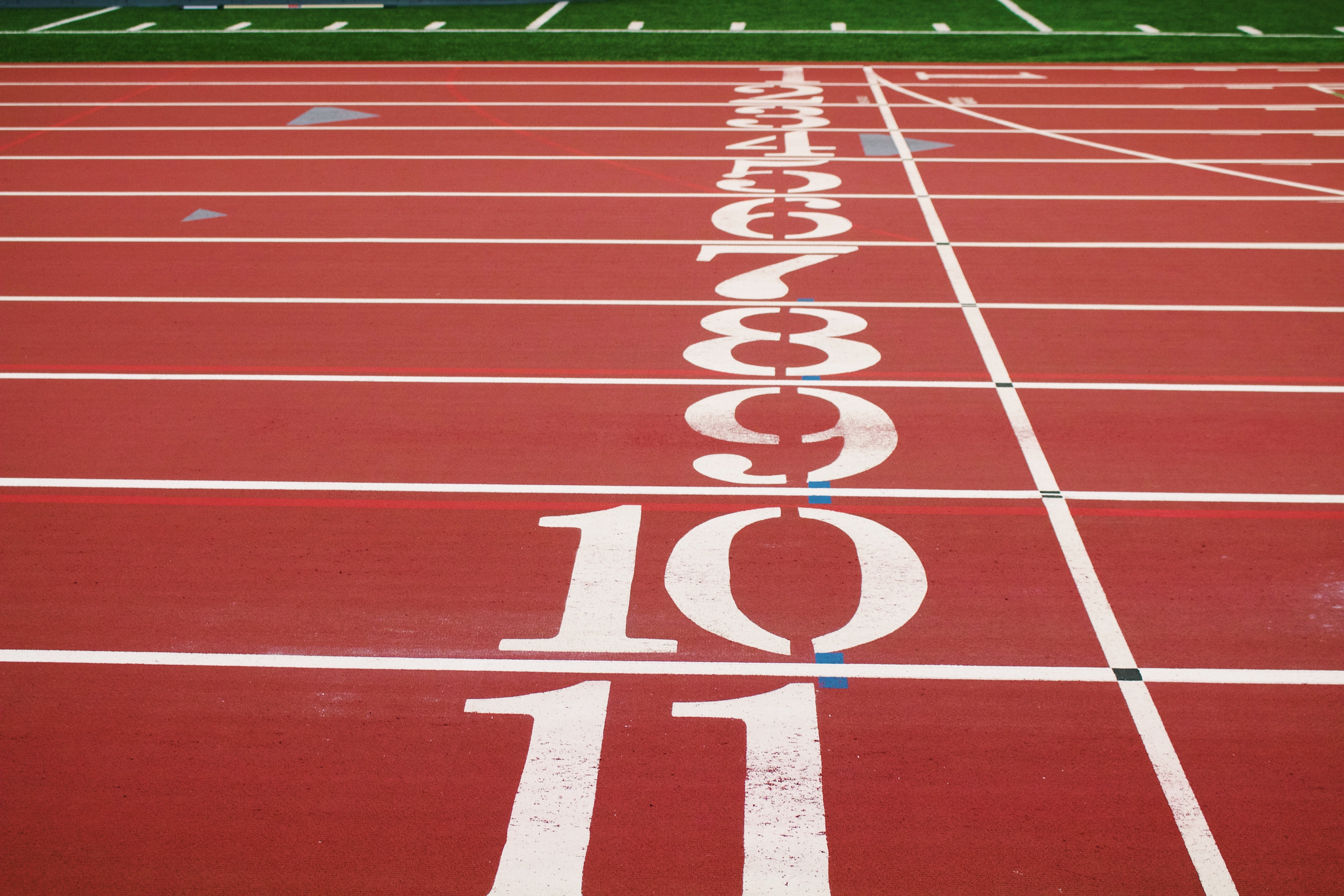 Numbers along the starting line on a running track