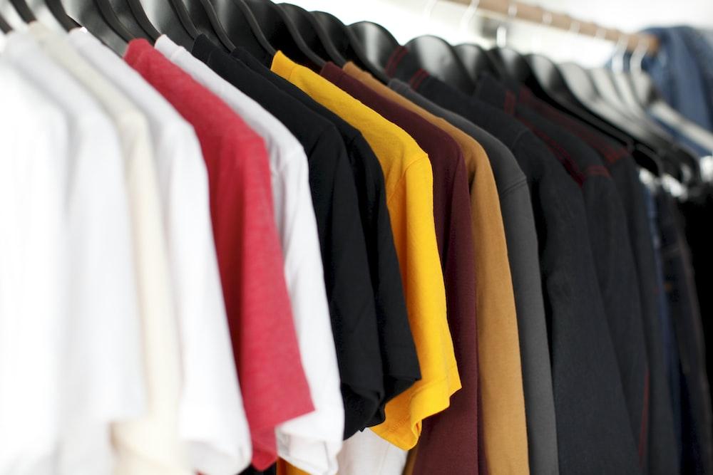 closeup of hanged shirts on rack