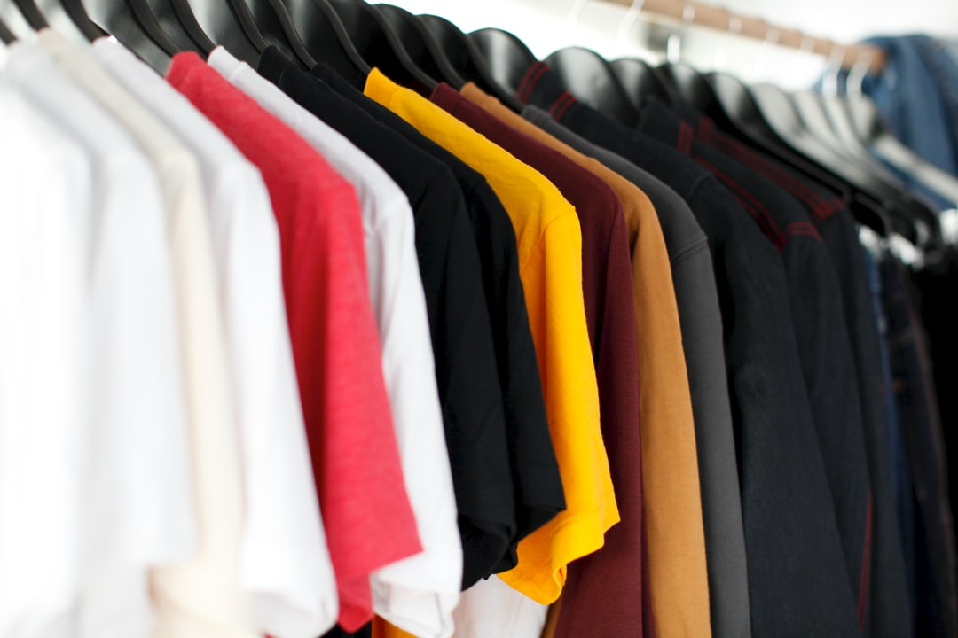 A row of t-shirts of different colors in Petersham