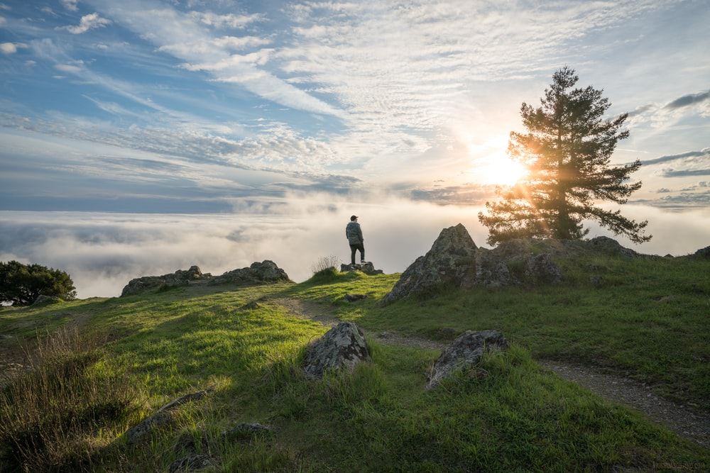 person standing on top of the mountain under cloudy sky