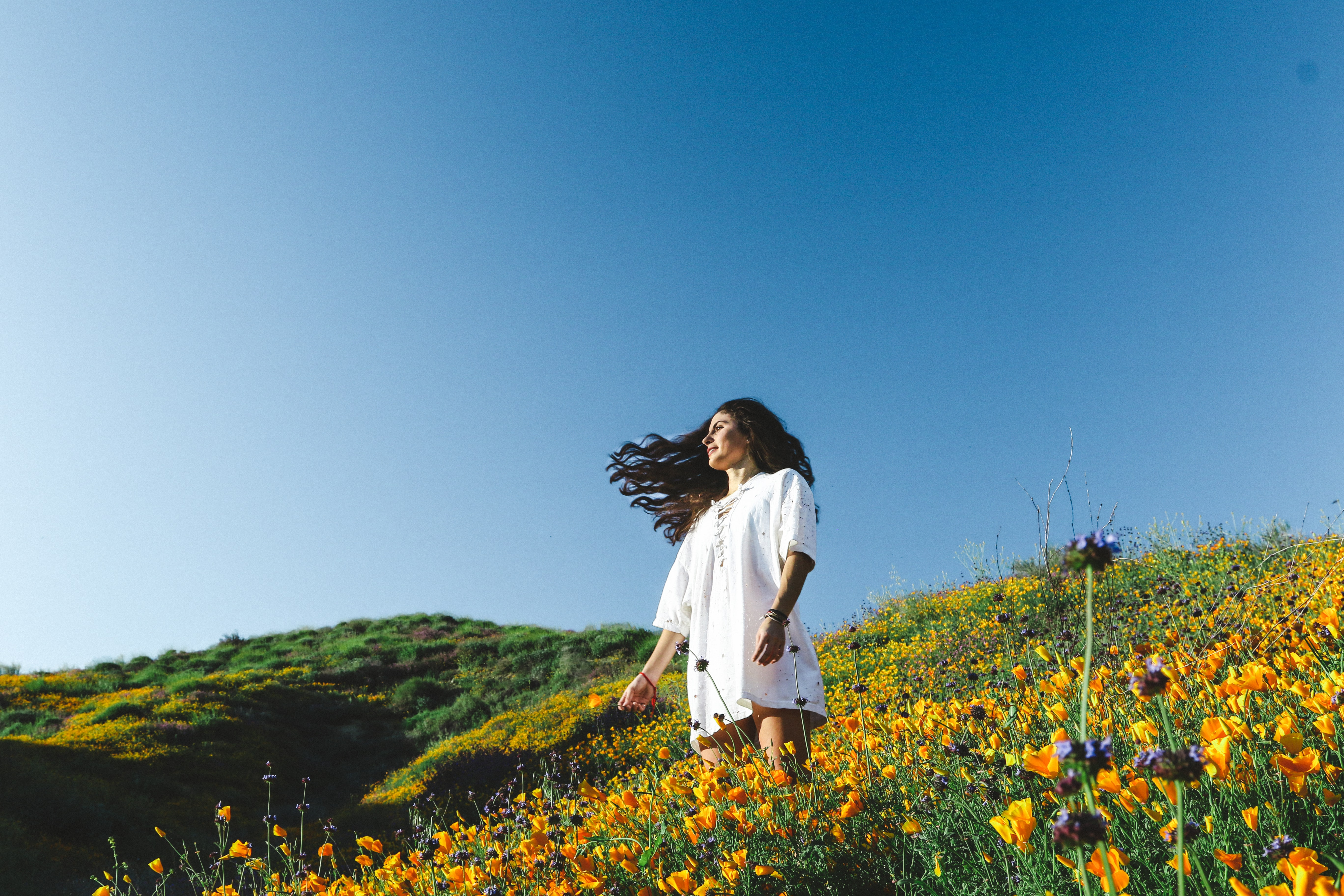A dark-haired woman in a white dress in a sunny meadow full of orange flowers