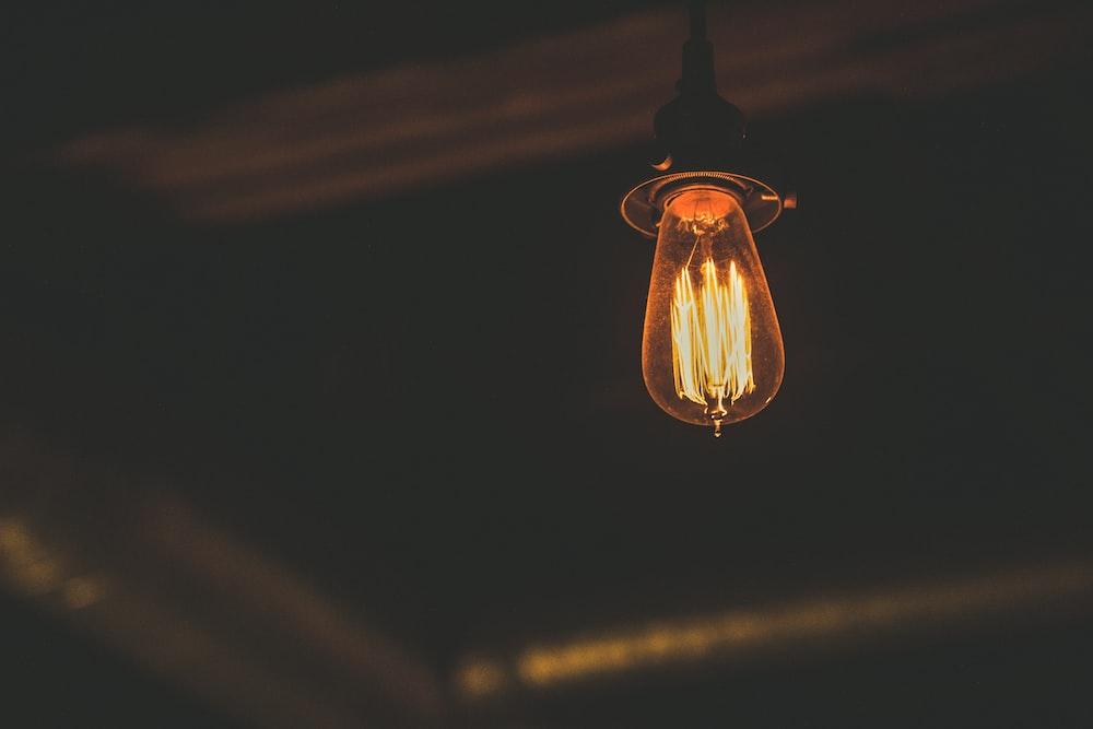 turned on light bulb inside the room