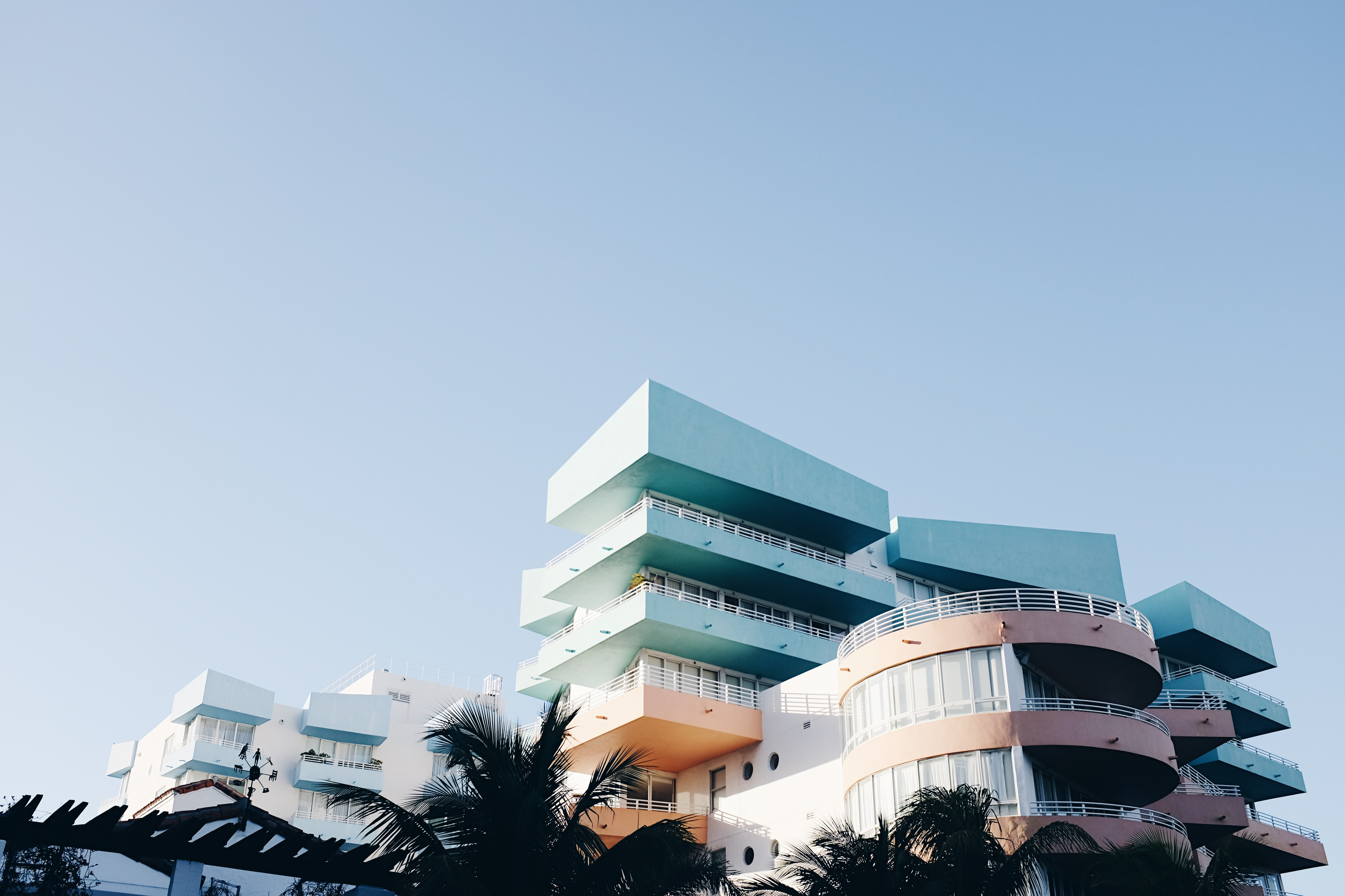 View of the hotel balconies at South Beach
