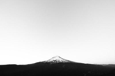 Mount Hood against white sky
