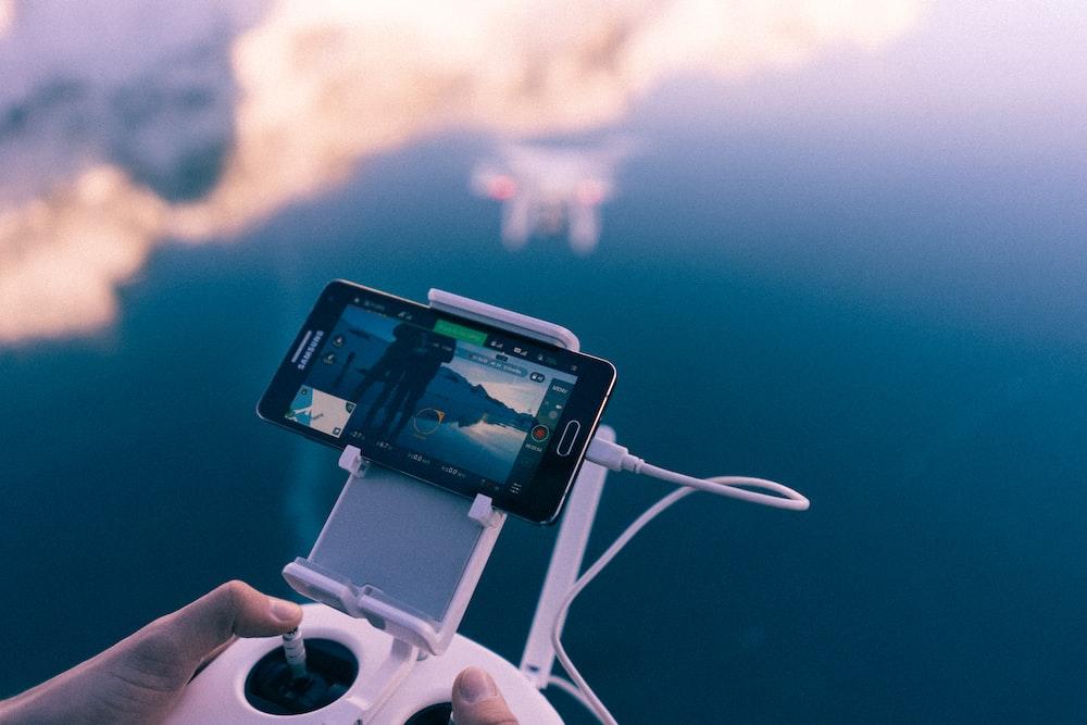 smartphone on phone holder