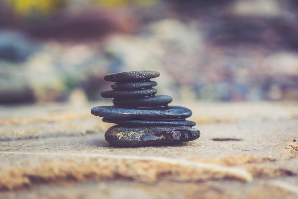 black stone arrangement in closeup photography