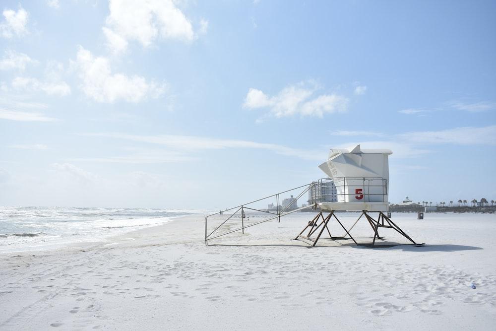 white life guard house on seashore