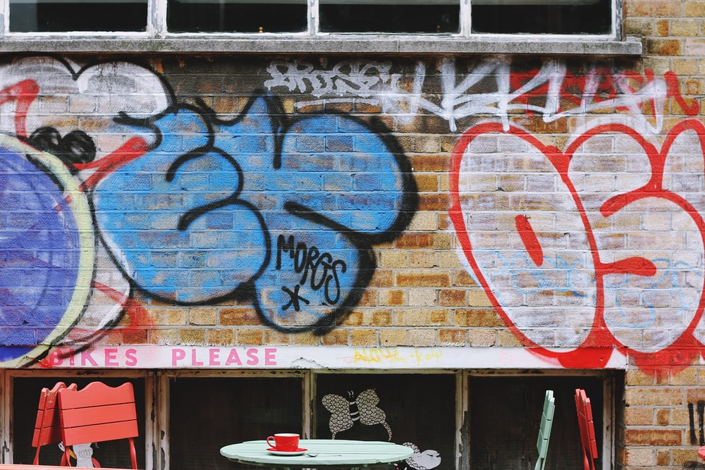 blue and red painted wall