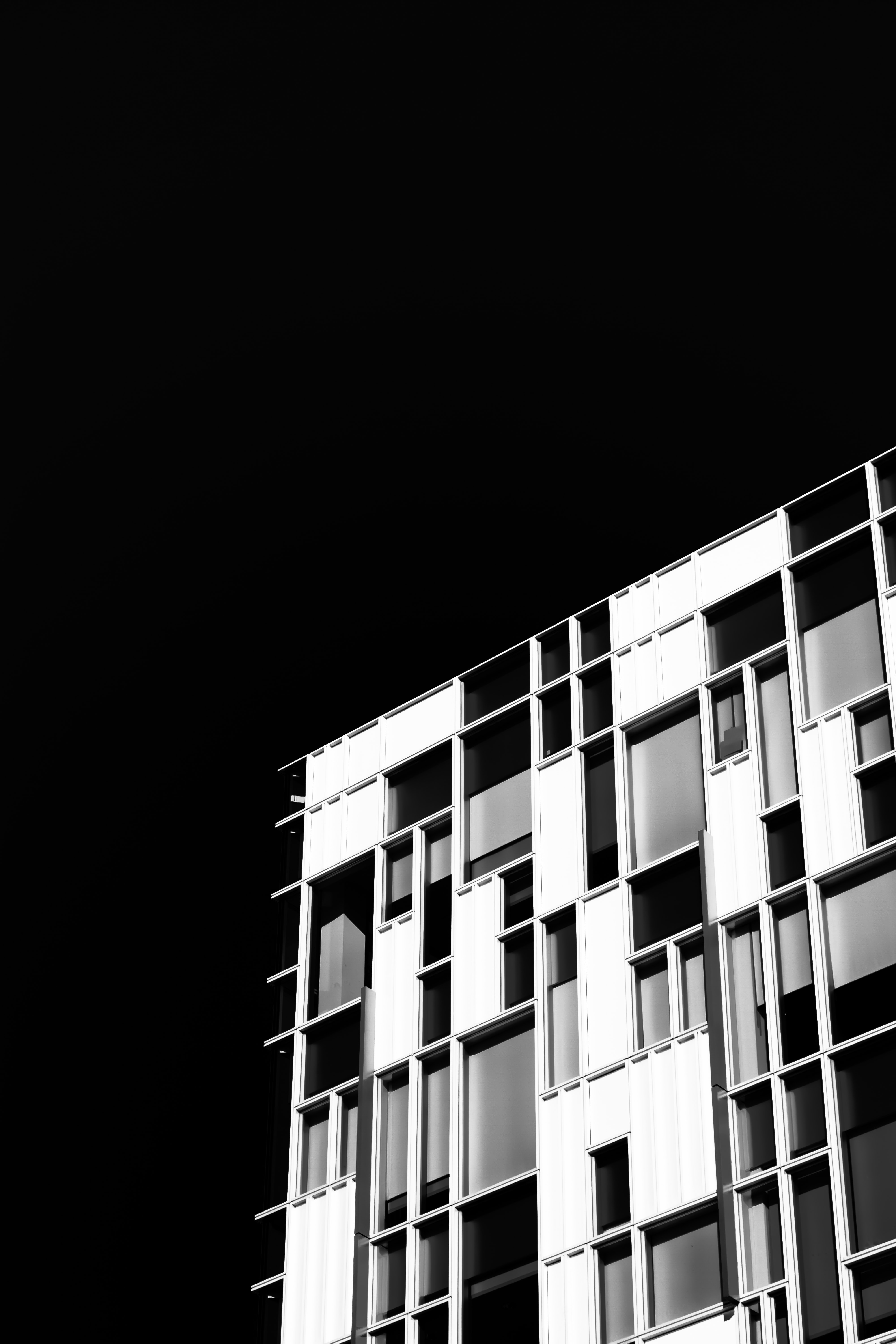 A black-and-white shot of a facade with rectangular windows in various sizes