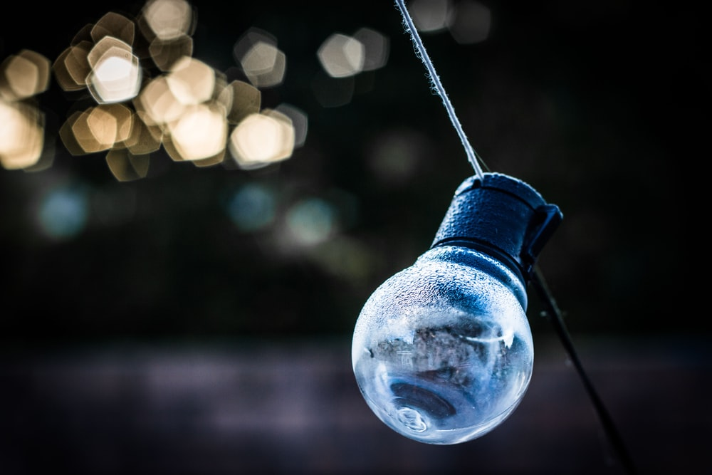 filament bulb with bokeh background photography
