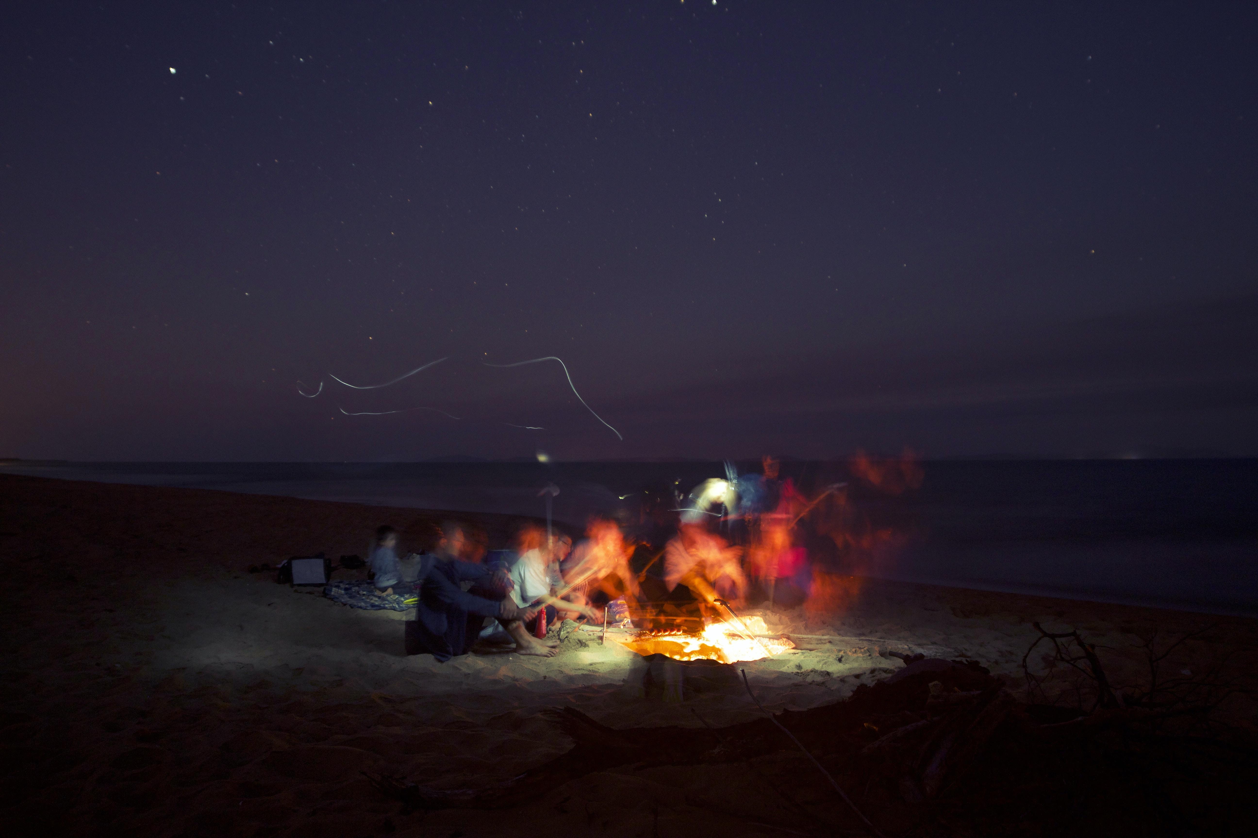 group of people making bonfire