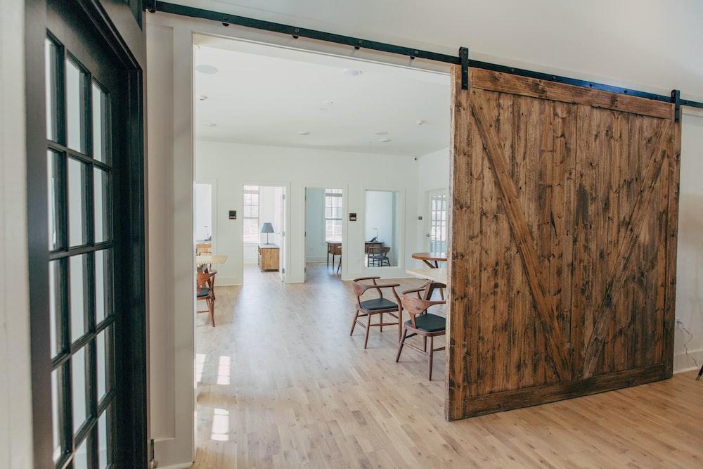 brown wooden parquet flooring