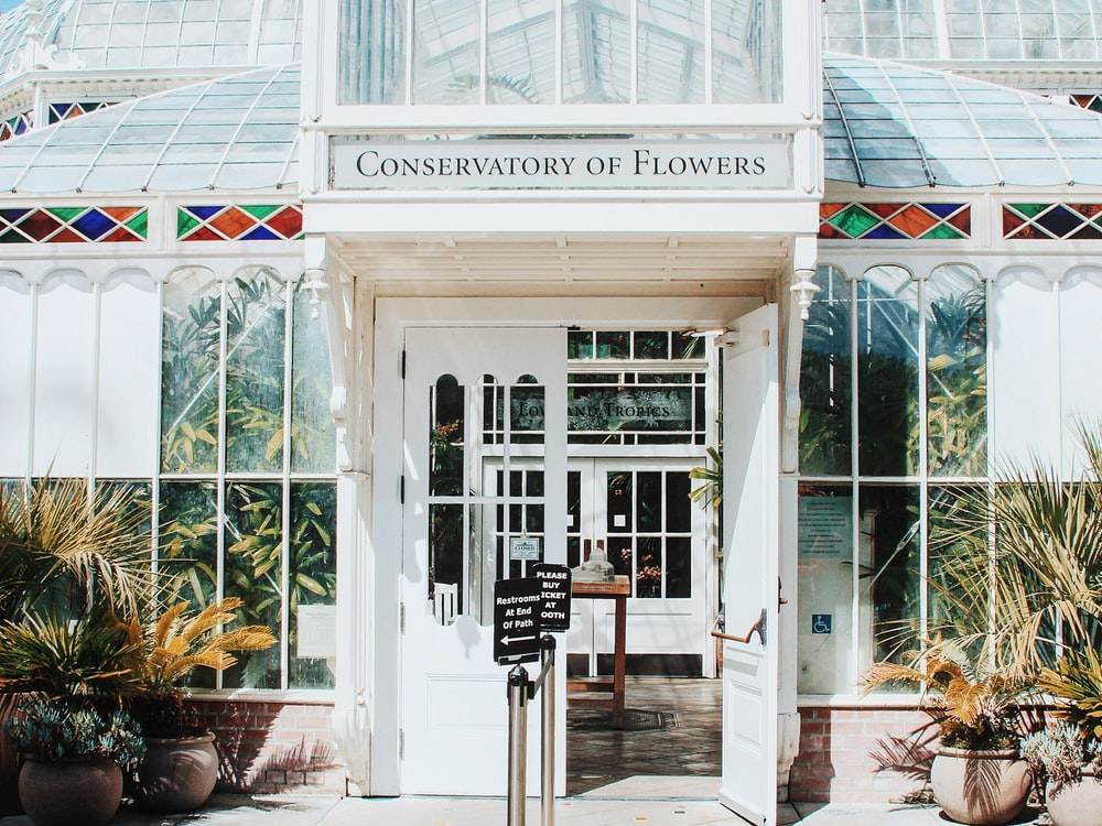 white Conservatory of Flowers building