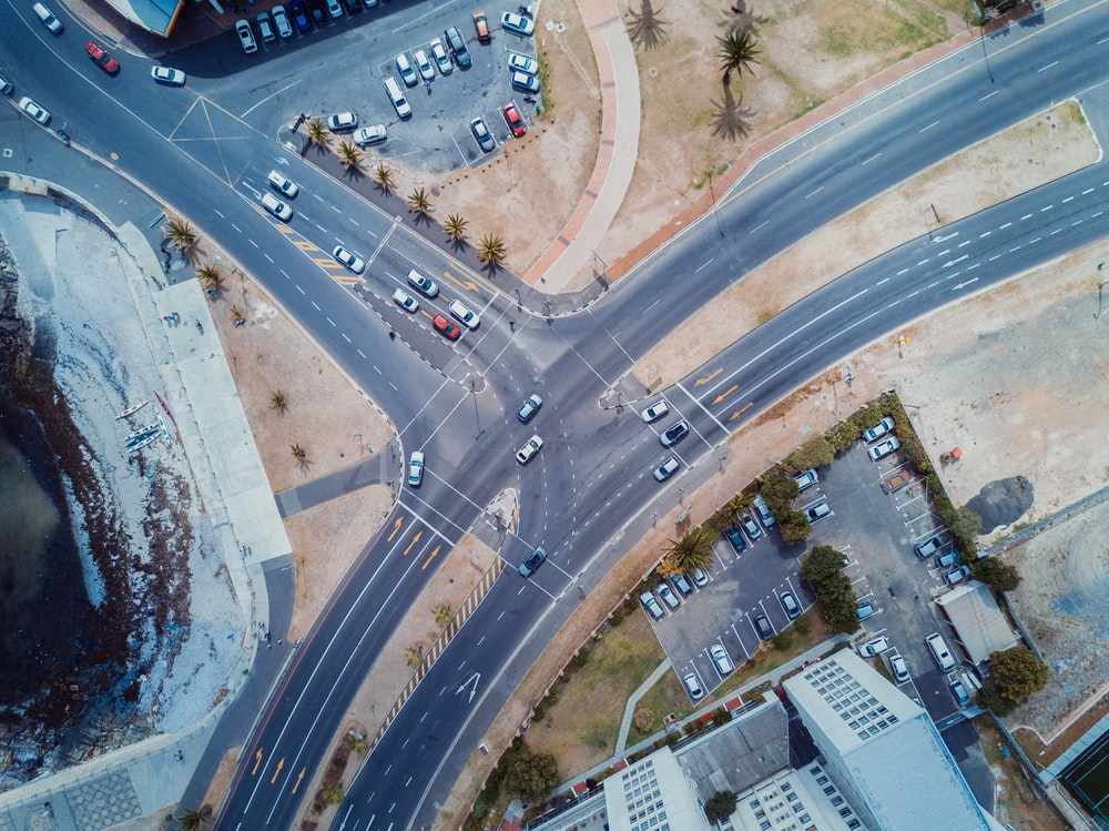 aerial photography of vehicular road