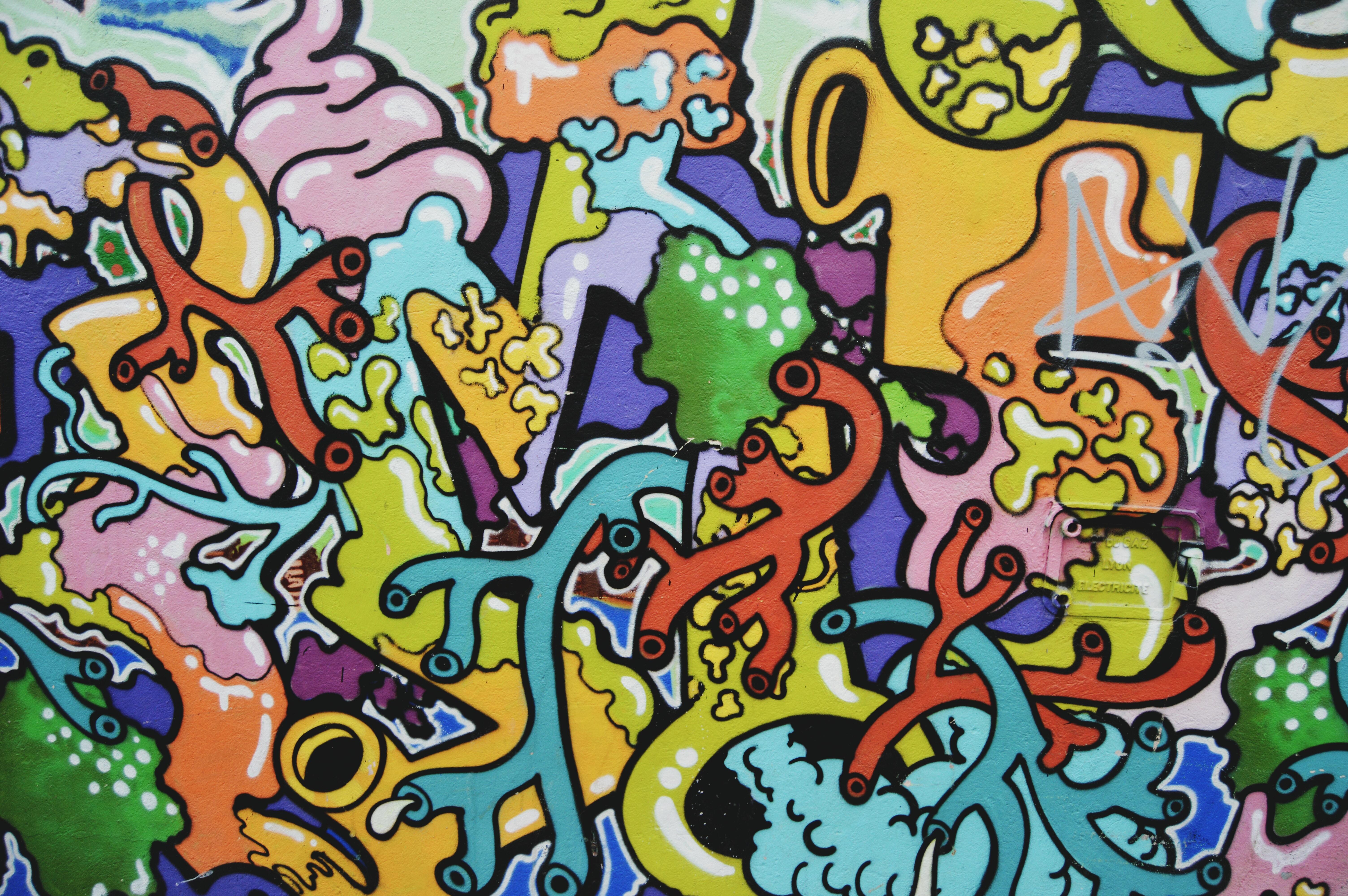 Colorful and random human organ street art in Lyon