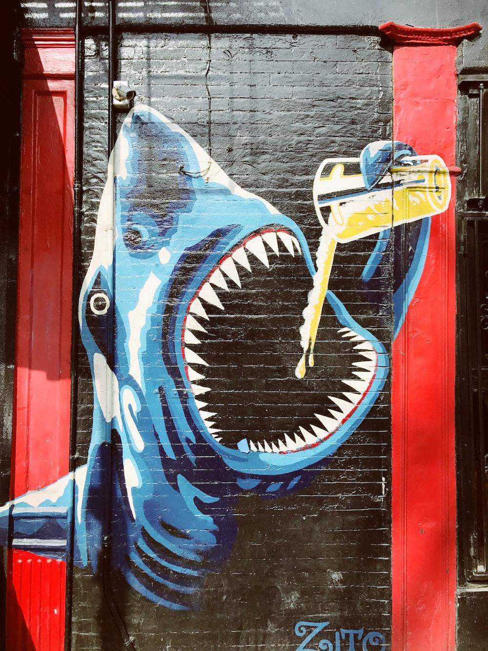 blue shark grafiti
