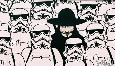 painting of guy fawkes and star wars stormtroopers cool teams background