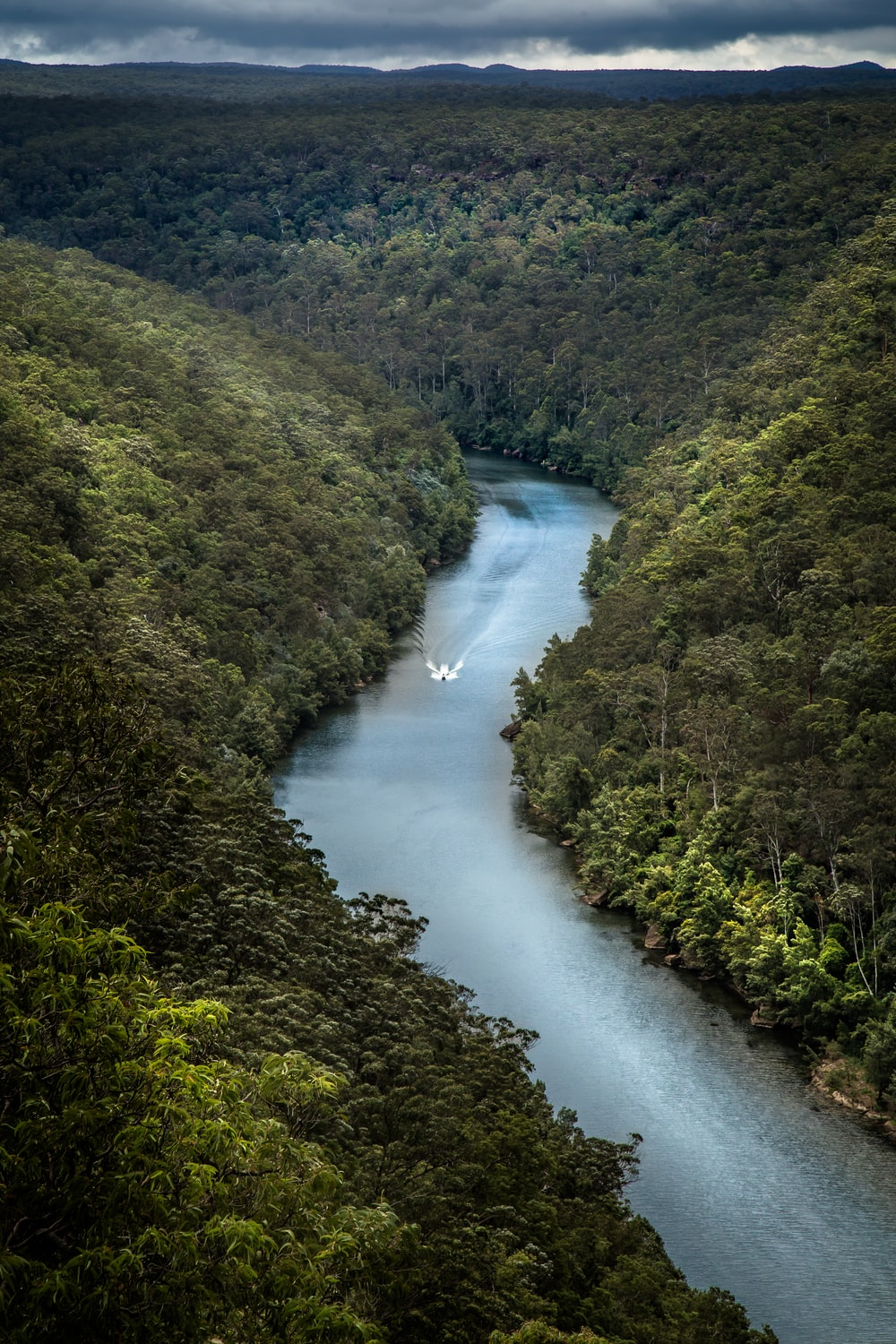 white motorboat passing through the river between tree-covered hills