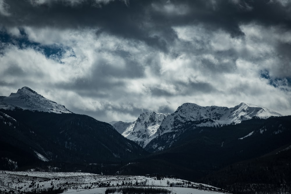greyscale photography of mountains
