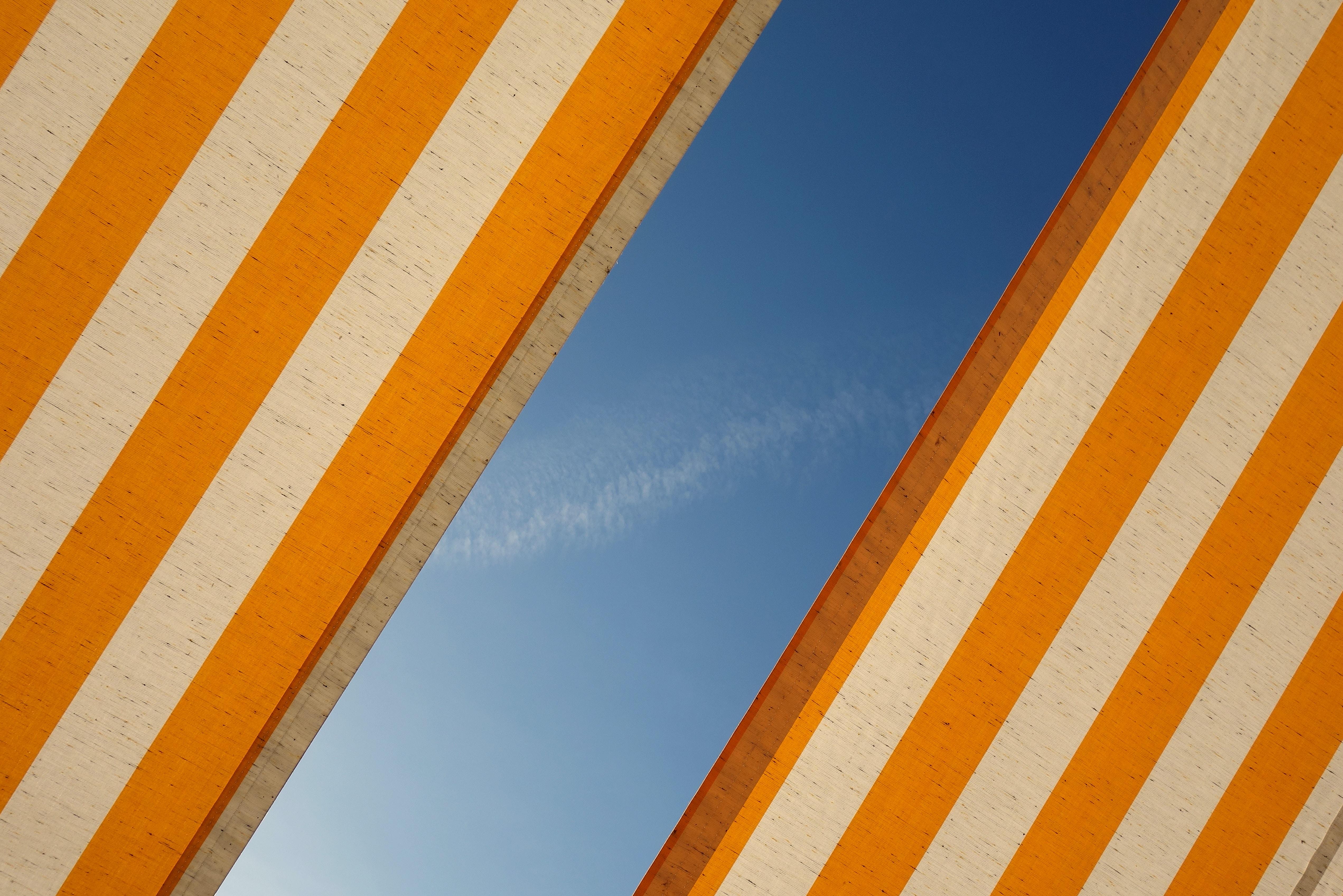 orange and white awning
